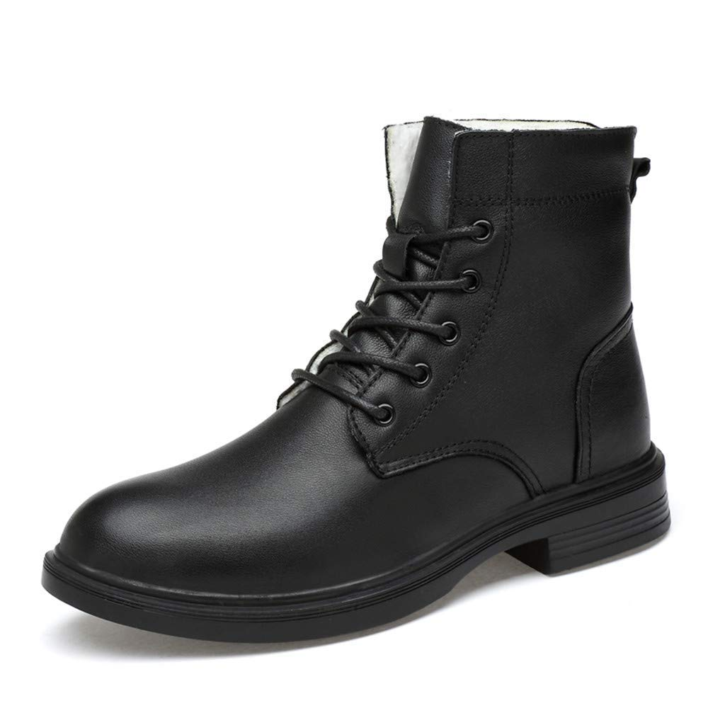 Herren Modische Stiefeletten, Casual Komfortable Und Weiche High Top Sohle Martin Stiefel (Warm Velvet Optional) (Farbe   Warm schwarz, Größe   40 EU) (Farbe   Wie Gezeigt, Größe   Einheitsgröße)