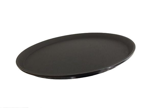 6 x wellgro® Gastro - Bandeja redonda (Diámetro de 35 cm, Negro - Bandeja camarero antideslizantes Juego - Bandeja para servir - Gastro - Bandeja gläserta ...