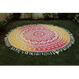 Montreal Tapassier Round Sheet ,round yoga mat, huge round picknic blanke GYPSY Tapestries,home decorhangings ,Round Table cloth ,Just round yoga mat ,picknic blankets,dorm tapestries ombre red yellow round sheet