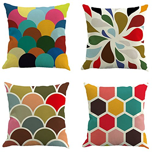 (E-Livingstyle 4-Pack Cotton Linen Decorative Pillow Covers Sofa Throw Pillow Case Cushion Covers Square 18×18 Inch)