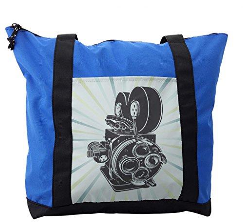 Lunarable Modern Shoulder Bag, Vintage Movie Camera Cartoon, Durable with Zipper -