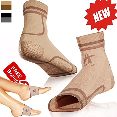 (Plantar Fasciitis Socks + Arch Support Compression Sleeves for 24/7 Comfort & Pain Relief of Achy Feet, Heel & PF - Better Than Night Splint Brace - for Men & Women (Nude, L/XL))