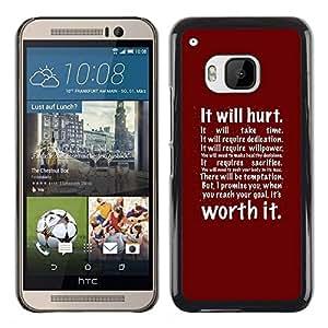 Hurt Worth It Red Boxeo Ejercicio Inspiring- Metal de aluminio y de plástico duro Caja del teléfono - Negro - HTC One M9