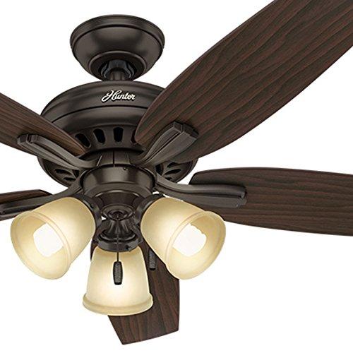 (Hunter Fan 52 inch Premier Bronze Ceiling Fan with a CFL Frosted Amber Glass Light Kit, 5 Blade (Renewed))