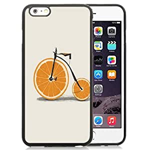 Fashionable Custom Designed iPhone 6 Plus 5.5 Inch Phone Case With Orange Wedges Wheels Bicycle Minimal_Black Phone Case