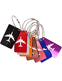 Travel Luggage Tags, G2PLAY 8 Packs Suitcase Tag Labels With Key Ring (8 colors)