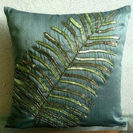 The HomeCentric Decorative Dark Green Euro Pillow Shams 26×26 inch 65×65 cm , Silk Euro Pillowcases, Nature Floral, Leaf, Tropical Euro Shams – Floating Leaf
