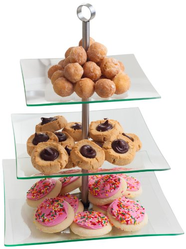 Chef Buddy 82-47532 3-Tier Square Glass Buffet and Dessert - Chef Square Platter