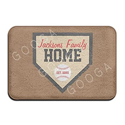 Baseball Family Home Plate Name And Year Super Absorbent Anti Slip Mat  Indoor/Outdoor