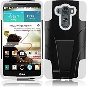 Dual Layer Plastic Silicone Black On White Hard Cover Snap On Case W/ Y Kickstand For LG G3 (Accessorys4Less)