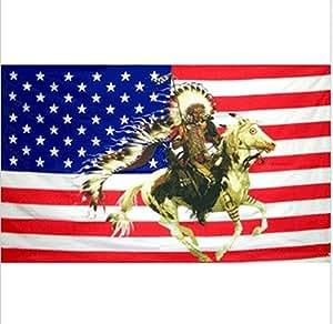Estados Unidos Premium Store Indian Chief & caballo nosotros bandera 3x 5pies EE. UU. ESTADOS UNIDOS AMÉRICA American Headdress