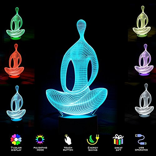 [New] 3D Night Light- Modern Meditation Mood Lamp - 3D Illusion Lamp 7 LED Light Colors Optical Illusion with USB Cable Smart Touch Button Control, Creative Gift Toys Decorations (Yoga meditation) - 3 Led Lamp