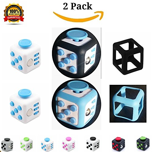 Free 2 Pc SET Fiddle Dice Fidget Cube Prime Replica With Case White/Blue 6 Sided Square Vinyl Desk Toy Clicker Joystick Buttons For Stress Anxiety Focus ADHD Autism Adults Kids Students - Class Home Office