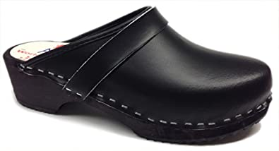 AM-Toffeln 100 Wooden Clog in black leather - Size 35