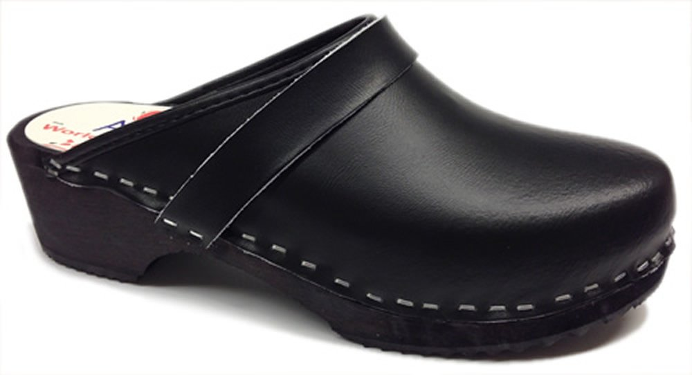 AM-Toffeln 100 Wooden Clog in Black Leather - Size 40