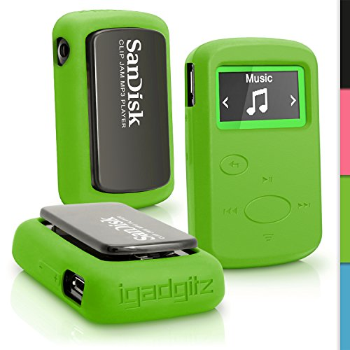 iGadgitz Green Rubber Silicone Case for Sandisk Sansa Clip Jam MP3 SDMX26-008G (2015) Gel Skin Cover