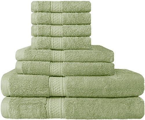 Premium 8 Piece Towel Set (Sage Green); 2 Bath Towels, 2 Hand Towels and 4 Washcloths - Cotton - Hotel Quality, Super Soft and Highly Absorbent by Utopia Towels