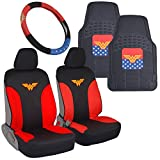 car accessories mats seat covers - BDK Wonder Woman Car Accessories Pack - Seat Cover, Rubber Floor Mats & Steering Wheel Cover