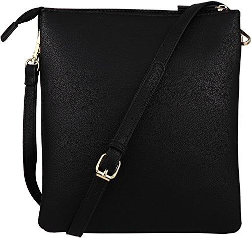 Zip wih Big Vegan Accent Black Tassel Crossbody Double B Purse Handbag Pocket BRENTANO tw4ASg