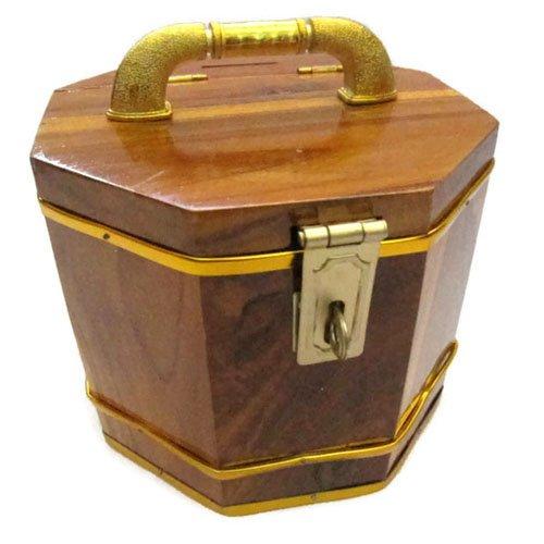 Wooden Handmade Decorative Octagon Piggy Bank Vintage Style Storage Box 5 (Mascott Costumes)