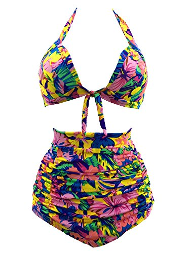 Century Star Women's Sexy Slimming High Wasited Vintage Swimsuit Multicolor XL