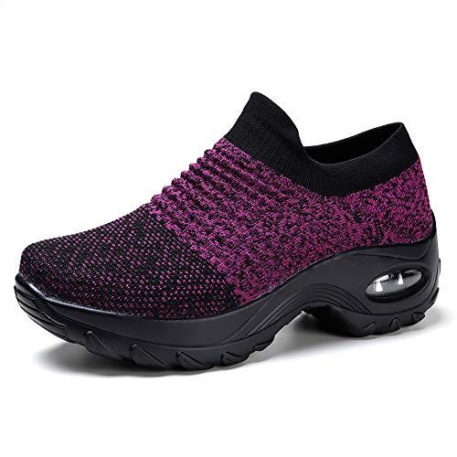 - Women's Fashion Sneakers Breathable Mesh Casual Sport Shoes Comfortable Walking Shoes Black Purple 7.5