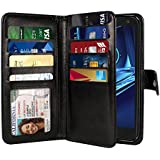 NEXTKIN Kinzie XT1585 Case, Leather Dual Wallet Folio TPU Cover, 2 Large Pockets Double flap Privacy, Multi Card Slots Snap Button Strap For Motorola Droid Turbo 2 Kinzie XT1585 X Force XT1580 - Black