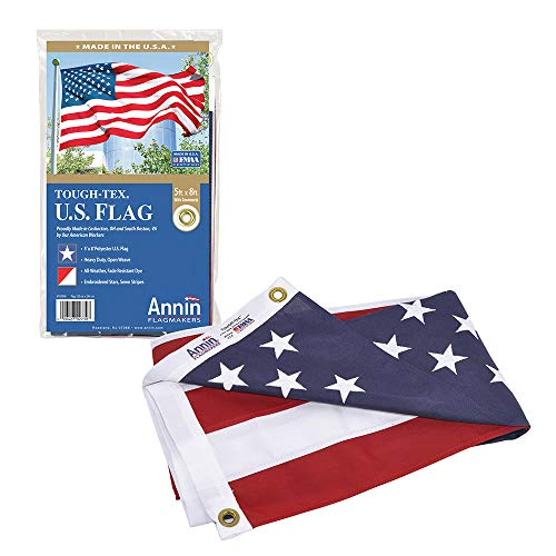 Annin Flagmakers Model 2730 American Flag 5x8 ft. Tough-Tex the Strongest, Longest Lasting Flag , 100% Made in USA with Sewn Stripes, Embroidered Stars and Brass Grommets. (4 X 5 Negative Sleeves)