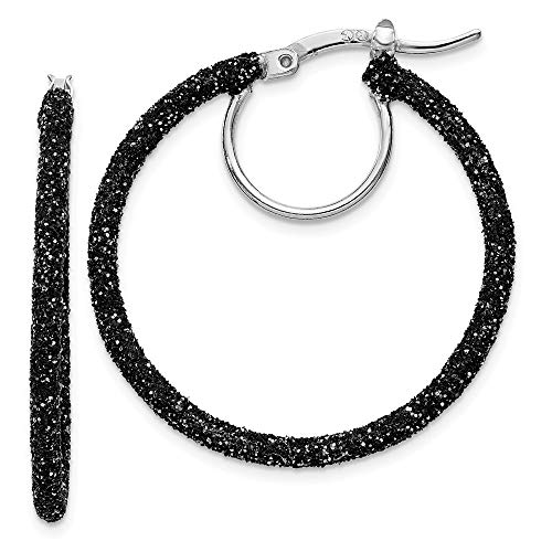 925 Sterling Silver Black Glitter Enamel Hoop Earrings Ear Hoops Set Fine Jewelry Gifts For Women For Her