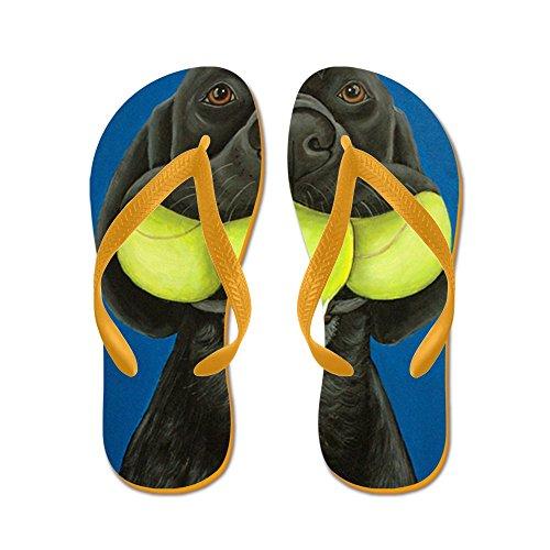 926f13d4abda CafePress - Black Lab With 3 Tennis Balls - Flip Flops