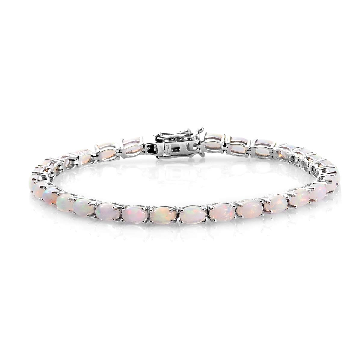 Oval Welo Opal Line Tennis Bracelet 925 Sterling Silver Platinum Plated Jewelry for Women Size 8 inch by Shop LC Delivering Joy