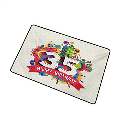 BeckyWCarr 35th Birthday Front Door mat Carpet Middle Age Theme Greeting Present Number Fun Joy Colorful Geometric Design Machine Washable Door mat W23.6 x L35.4 Inch,Multicolor