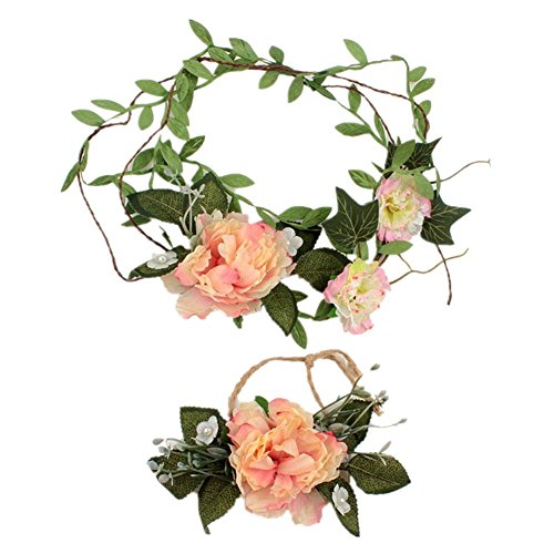 CHUANGLI Fashion Simulation Floral Crown Party Wedding Hair Flower wreaths Hair Bands and Wrist Flower Set 2PCS Light Pink