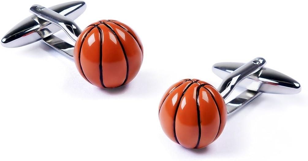 Orange Rhodium Cufflink Basketball Cufflink