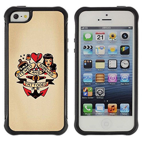 Unique Pattern Anti-Skid Hybrid Impact Shockproof Case Cover For Apple Iphone 5 / 5S , ( Pin Up Heart Doll Anchor Woman Tattoo (Pin Up Dolls Tattoos)
