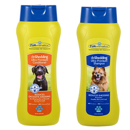 Furminator deShedding Ultra Premium Shampoo, 16 Ounces, and Furminator deShedding Ultra Premium Conditioner, 16 Ounces (Furminator Dog Conditioner compare prices)