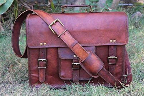handolederco. Vintage Leather Laptop Bag 15 Messenger Handmade Briefcase Crossbody Shoulder Bag by handolederco.