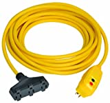 Tower Manufacturing 30334305-01 Auto-Reset 15 AMP Right Angle GFCI Triple Tap Cord, 50 Feet, Yellow