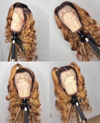 360 Lace Frontal Wig Ombre Blonde #27 Human Hair for Black Women Wig Glueless Pre Plunked Hair Line Wigs Wave Hair Style with Baby Hair by YOKADA HAIR (20inch, 360 wig)