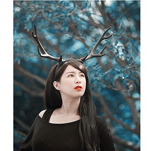 sd finger Forest Fairy Christmas Decor Festival Celebration Accessory Props Deer Reindeer Antlers Twig Head Hair Band Photo Shoot Forest Goddess Headdress Headwear ()