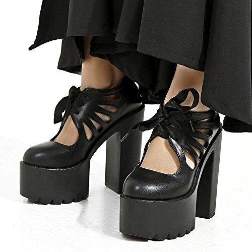 ZHZNVX Los nuevos zapatos de tacón primavera y verano tendencias de moda zapatos de mujer impermeable grueso con sandalias de Taiwán black