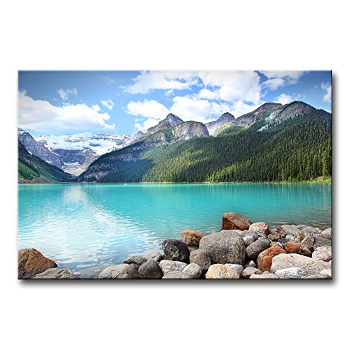 - Wall Art Decor Poster Painting On Canvas Print Pictures Beautiful Lake Louise in The Banff National Park Alberta Canada Lake Landscape Framed Picture for Home Decoration Living Room Artwork