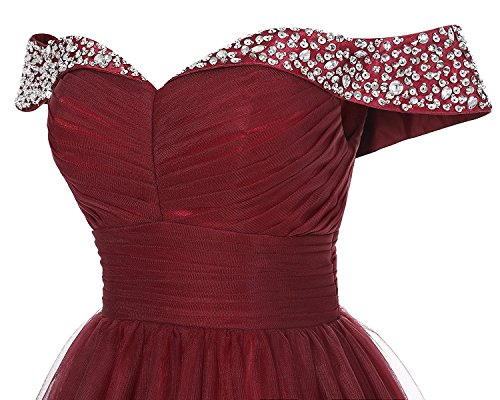 Women A Prom Beaded Dress Off for Tulle line Long Shoulder Gown Burgundy Evening Formal Ball f85qO