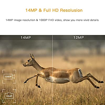 "TOGUARD Trail Camera 14MP 1080P Game Cameras with Night Vision Motion Activated Waterproof Wildlife Hunting Cam 120° Detection with 0.3s Trigger Speed 2.4"" LCD IR LEDs"