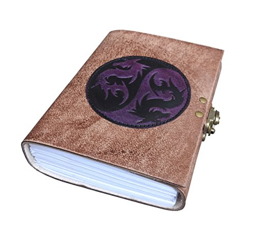 Zodiac Embossed Leather Journal Diary /Instagram Photo Album - Lock with handmade paper