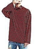 Hotmiss Men's Striped Hipster Hip Hop Basic Turtleneck Long Sleeve T-Shirt Top, Red, Medium