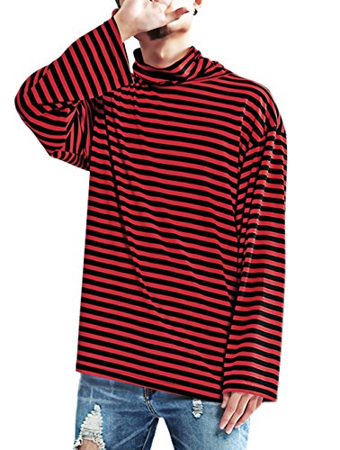 Hotmiss Men's Striped Hipster Hip Hop Basic Turtleneck Long Sleeve T-Shirt Top, Red, Medium