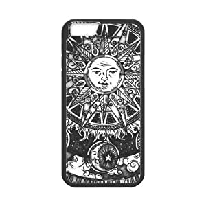 Classic Style Custom Silicone Hard Rubber Protector Case for iPhone6(4.7inch) - Sun and Moon Case