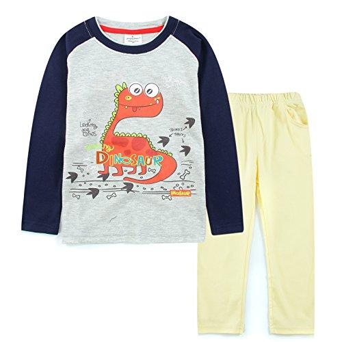 [Neighbor Girl Kid's Baby Cartoon Dinosaur sweatshirts 2pcs Set 100% Cotton (1.5-6 Year)] (Dorothy The Dinosaur Costumes)