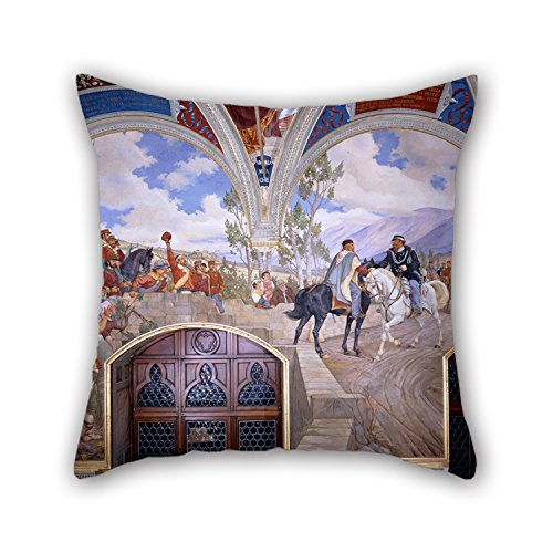 Oil Painting Pietro Aldi - Victor Emanuel II Meeting Giuseppe Garibaldi At Teano Pillowcase 18 X 18 Inches / 45 By 45 Cm Gift Or Decor For Floor Teens Girls Her Wife Wedding Home Office - Twin Sid ()